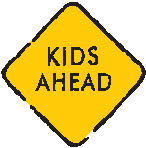 Kids ahead sign